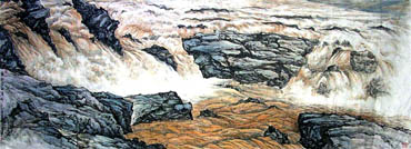 Chinese Yellow River Painting,300cm x 110cm,1122001-x
