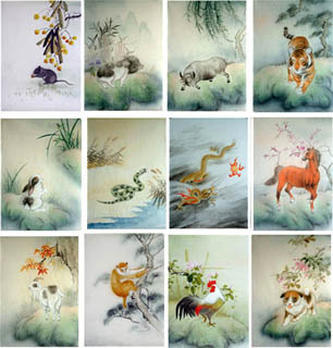 Chinese Zodiac Animals Painting,43cm x 65cm,4800001-x